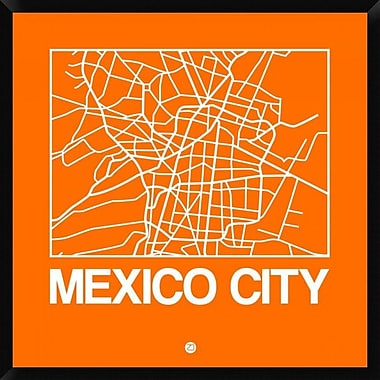 Naxart 'Orange Map of Mexico City' Framed Graphic Art Print on Canvas; 38'' H x 38'' W x 1.5'' D