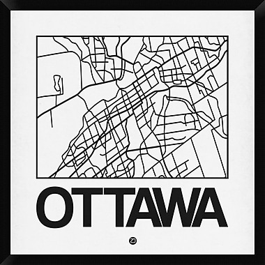Naxart 'White Map of Ottawa' Framed Graphic Art Print on Canvas; 32'' H x 32'' W x 1.5'' D