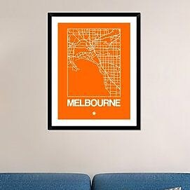 Naxart 'Orange Map of Melbourne' Framed Graphic Art Print; 38'' H x 30'' W x 1.5'' D