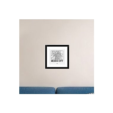Naxart 'White Map of Mexico City' Framed Graphic Art Print; 18'' H x 18'' W x 1.5'' D