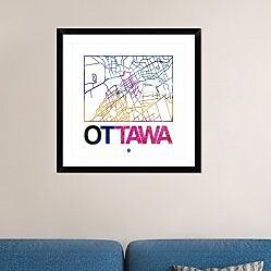 Naxart 'Ottawa Watercolor Street Map' Framed Graphic Art Print; 30'' H x 30'' W x 1.5'' D
