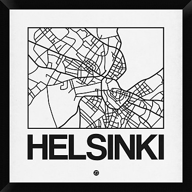Naxart 'White Map of Helsinki' Framed Graphic Art Print on Canvas; 26'' H x 26'' W x 1.5'' D