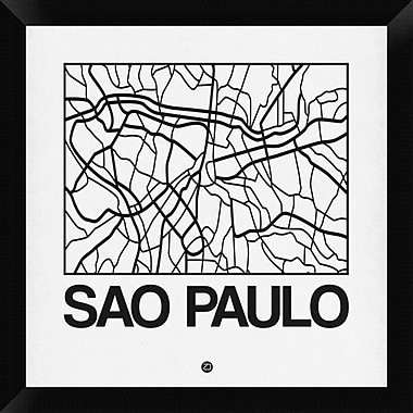 Naxart 'White Map of Sao Paulo' Framed Graphic Art Print on Canvas; 20'' H x 20'' W x 1.5'' D