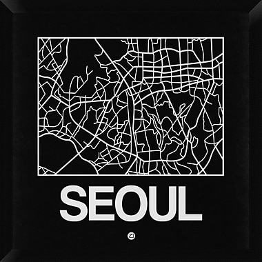 Naxart 'Black Map of Seoul' Framed Graphic Art Print on Canvas; 26'' H x 26'' W x 1.5'' D