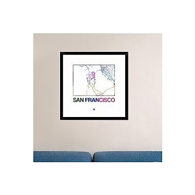 Naxart 'San Francisco Watercolor Street Map' Framed Graphic Art Print; 30'' H x 30'' W x 1.5'' D