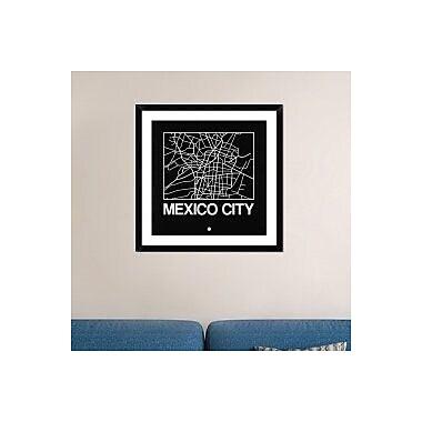 Naxart 'Black Map of Mexico City' Framed Graphic Art Print; 30'' H x 30'' W x 1.5'' D