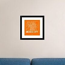 Naxart 'Orange Map of Mexico City' Framed Graphic Art Print; 18'' H x 18'' W x 1.5'' D