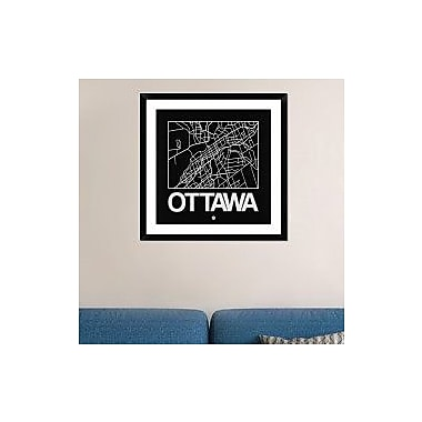 Naxart 'Black Map of Ottawa' Framed Graphic Art Print; 30'' H x 30'' W x 1.5'' D