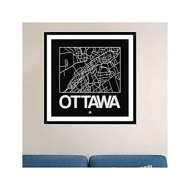 Naxart 'Black Map of Ottawa' Framed Graphic Art Print; 42'' H x 42'' W x 1.5'' D