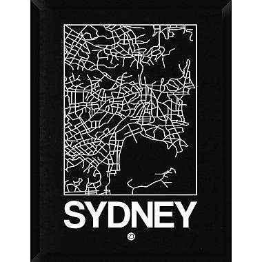 Naxart 'Black Map of Sydney' Framed Graphic Art Print on Canvas; 34'' H x 26'' W x 1.5'' D