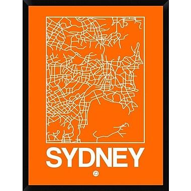 Naxart 'Orange Map of Sydney' Framed Graphic Art Print on Canvas; 42'' H x 32'' W x 1.5'' D