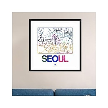 Naxart 'Seoul Watercolor Street Map' Framed Graphic Art Print; 42'' H x 42'' W x 1.5'' D