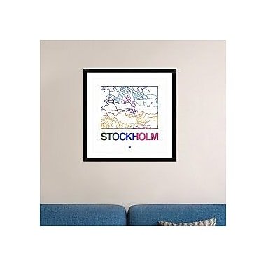Naxart 'Stockholm Watercolor Street Map' Framed Graphic Art Print; 30'' H x 30'' W x 1.5'' D