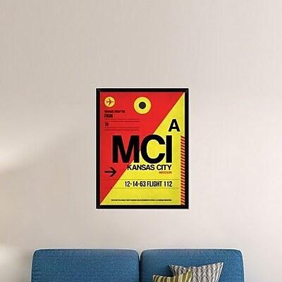 Naxart 'MCI Kansas City Luggage tag I' Framed Graphic Art Print on Canvas; 42'' H x 32'' W x 1.5'' D
