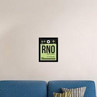 Naxart 'RNO Reno Luggage Tag I' Framed Graphic Art Print on Canvas; 18'' H x 14'' W x 1.5'' D