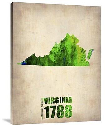 Naxart 'Virginia Watercolor Map' Graphic Art Print on Canvas; 40'' H x 30'' W x 1.5'' D