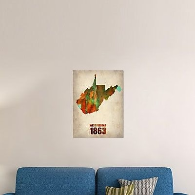 Naxart 'West Virginia Watercolor Map' Graphic Art Print on Canvas; 24'' H x 18'' W x 1.5'' D