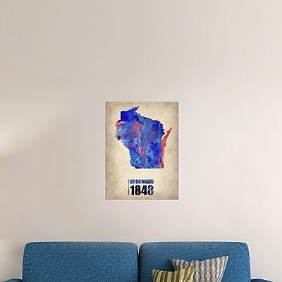 Naxart 'Wisconsin Watercolor Map' Graphic Art Print on Canvas; 40'' H x 30'' W x 1.5'' D