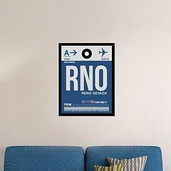 Naxart 'RNO Reno Luggage Tag II' Framed Graphic Art Print on Canvas; 34'' H x 26'' W x 1.5'' D