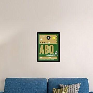 Naxart 'ABQ Albuquerque Luggage Tag I' Framed Graphic Art Print on Canvas; 26'' H x 20'' W x 1.5'' D