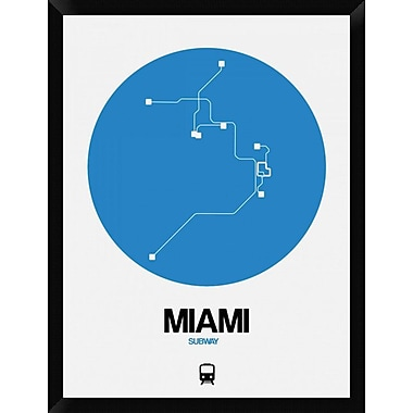 Naxart 'Miami Blue Subway Map' Framed Graphic Art Print on Canvas; 34'' H x 26'' W x 1.5'' D
