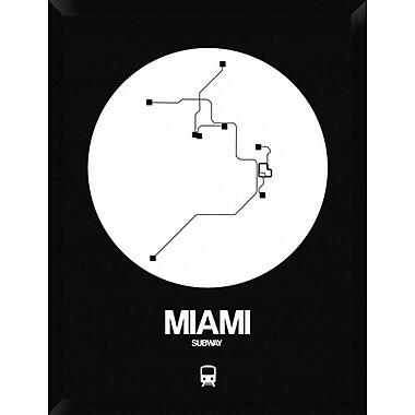 Naxart 'Miami White Subway Map' Framed Graphic Art Print on Canvas; 34'' H x 26'' W x 1.5'' D