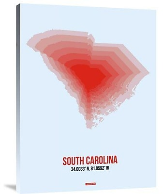 Naxart 'South Carolina Radiant Map 1' Graphic Art Print on Canvas; 40'' H x 30'' W x 1.5'' D