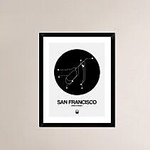 Naxart 'San Francisco Black Subway Map' Framed Graphic Art Print; 30'' H x 24'' W x 1.5'' D