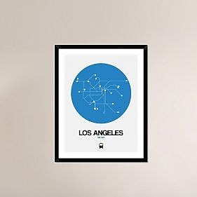 Naxart 'Los Angeles Blue Subway Map' Framed Graphic Art Print; 38'' H x 30'' W x 1.5'' D