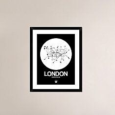Naxart 'London White Subway Map' Framed Graphic Art Print; 30'' H x 24'' W x 1.5'' D