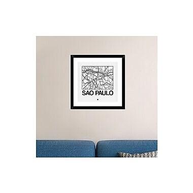 Naxart 'White Map of Sao Paulo' Framed Graphic Art Print; 24'' H x 24'' W x 1.5'' D