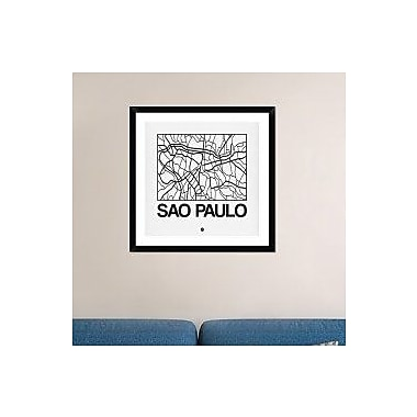 Naxart 'White Map of Sao Paulo' Framed Graphic Art Print; 30'' H x 30'' W x 1.5'' D