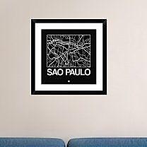 Naxart 'Black Map of Sao Paulo' Framed Graphic Art Print; 18'' H x 18'' W x 1.5'' D