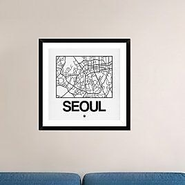 Naxart 'White Map of Seoul' Framed Graphic Art Print; 30'' H x 30'' W x 1.5'' D