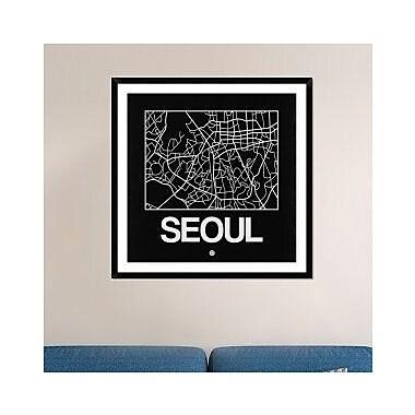 Naxart 'Black Map of Seoul' Framed Graphic Art Print; 42'' H x 42'' W x 1.5'' D