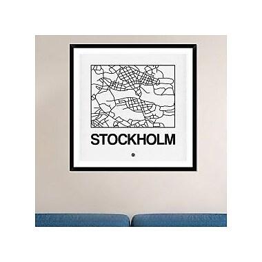 Naxart 'White Map of Stockholm' Framed Graphic Art Print; 42'' H x 42'' W x 1.5'' D