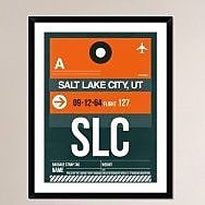 Naxart 'SLC Salt Lake City Luggage Tag II' Framed Graphic Art Print; 38'' H x 30'' W x 1.5'' D