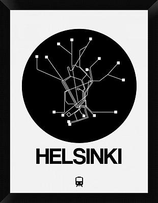 Naxart 'Helsinki Black Subway Map' Framed Graphic Art Print on Canvas; 26'' H x 20'' W x 1.5'' D