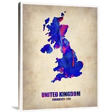 Naxart 'United Kingdom Watercolor Map' Graphic Art Print on Canvas; 16'' H x 12'' W x 1.5'' D
