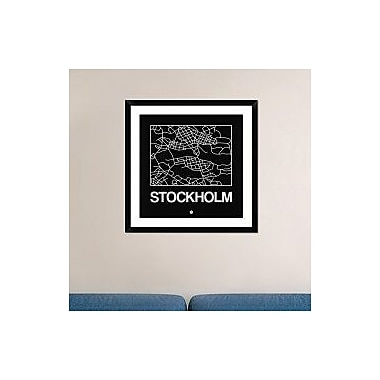 Naxart 'Black Map of Stockholm' Framed Graphic Art Print; 30'' H x 30'' W x 1.5'' D