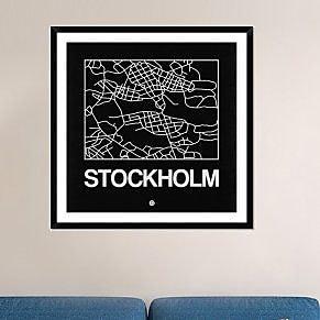Naxart 'Black Map of Stockholm' Framed Graphic Art Print; 42'' H x 42'' W x 1.5'' D