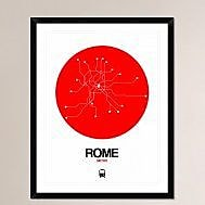Naxart 'Rome Red Subway Map' Framed Graphic Art Print; 38'' H x 30'' W x 1.5'' D