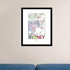 Naxart 'Sydney Watercolor Street Map' Framed Graphic Art Print; 30'' H x 24'' W x 1.5'' D