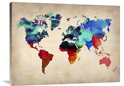 Naxart 'World Watercolor Map 1' Graphic Art Print on Canvas; 24'' H x 32'' W x 1.5'' D