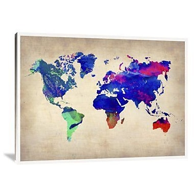 Naxart 'World Watercolor Map 2' Graphic Art Print on Canvas; 12'' H x 16'' W x 1.5'' D