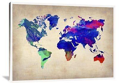 Naxart 'World Watercolor Map 2' Graphic Art Print on Canvas; 18'' H x 24'' W x 1.5'' D