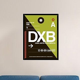 Naxart 'DXB Dubai Luggage Tag II' Framed Graphic Art Print on Canvas; 42'' H x 32'' W x 1.5'' D