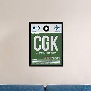 Naxart 'CGK Jakarta Luggage Tag II' Framed Graphic Art Print on Canvas; 34'' H x 26'' W x 1.5'' D