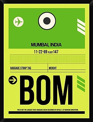 Naxart 'BOM Mumbai Luggage Tag I' Framed Graphic Art Print on Canvas; 42'' H x 32'' W x 1.5'' D