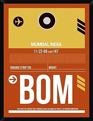 Naxart 'BOM Mumbai Luggage Tag II' Framed Graphic Art Print on Canvas; 42'' H x 32'' W x 1.5'' D